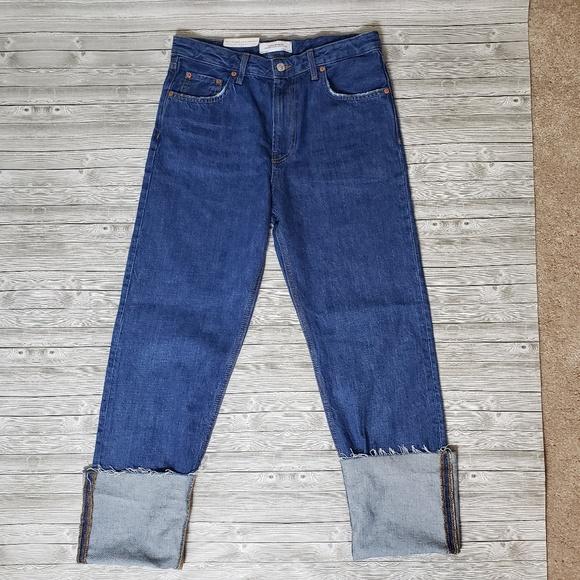 Zara Denim - ZARA high rise straight leg folded up jeans (6)